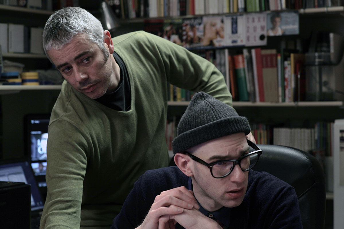My Name Is Janez Janša, movie set: Janez Janša (left) and Dražen Dragojević. Photo: Darko Herič