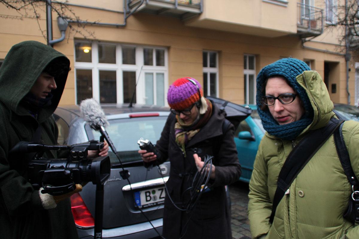 My Name Is Janez Janša, movie set: Miona Bogović (left), Marta Popivoda (center) and Gaia Novati