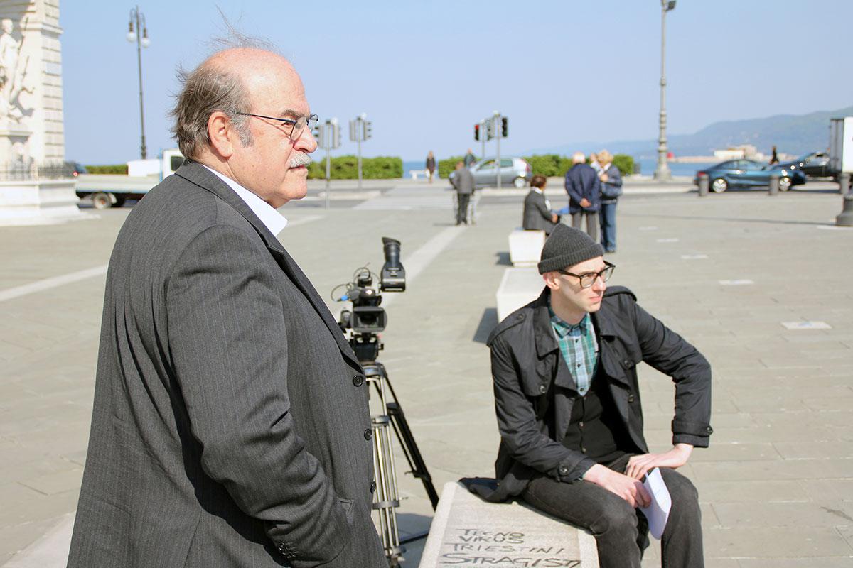 My Name Is Janez Janša, movie set: Miroslav Košuta (left) and Dražen Dragojević