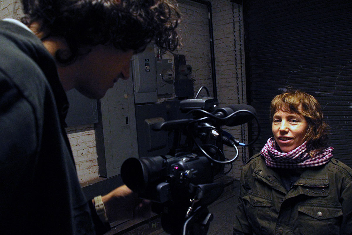 My Name Is Janez Janša, movie set: Darko Herič (left) and Kristin Sue Lucas